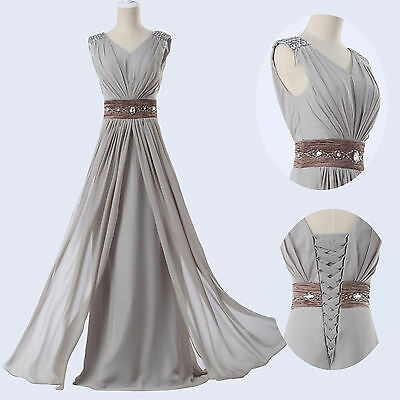 Long Chiffon Evening Formal Party Ball Gown Prom Bridesmaid Crystals Dress 6-20