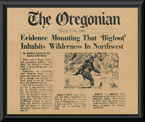 1969 Bigfoot Sasquatch Fantasy Newspaper Cover Printed On 50 Year Old Paper P216