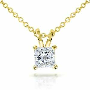 1-00-ct-Princess-Cut-Solitaire-14k-Yellow-Gold-Over-Diamond-Pendant-18-034-Chain