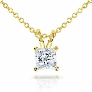 1-00-ct-Princess-Cut-Solitaire-14k-Yellow-Gold-Over-Diamond-Pendant-18-034-Chain