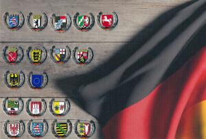 Sammlung-Bundeslaender-Wappen-Deutschland-Flaggen-Metall-Button-Pin-Anstecker
