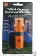 7-In-1 Emergency Survival Whistle Compass Signal Mirror LED Storage Thermometer