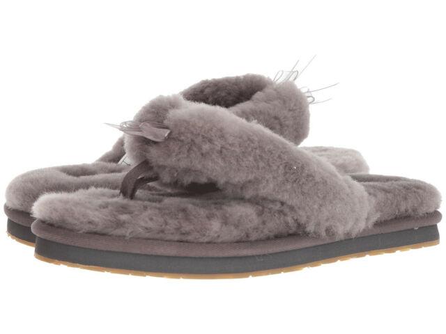 detailed images best service affordable price UGG Womens SLIPPER Fluff Flip Flop III Grey Size 11