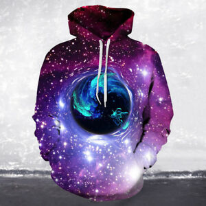 4b659d2354da Image is loading Hoodie-Pullover-3D-Starry-Sky-Sweatshirt-Couple-Sweater-