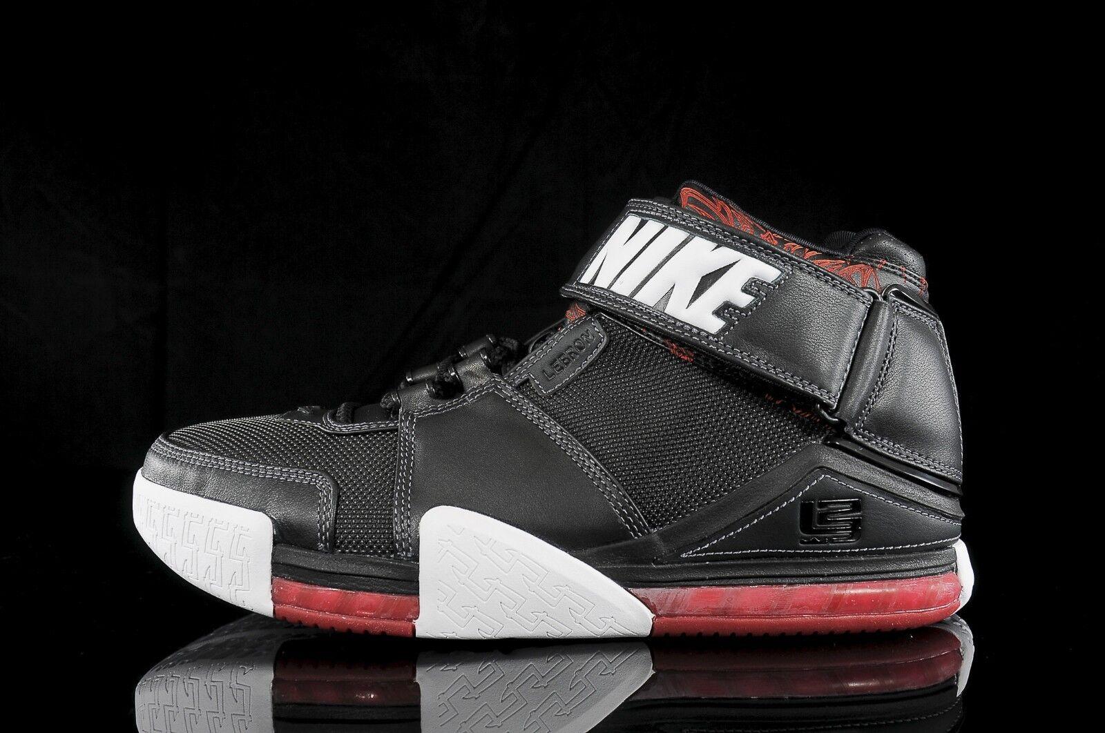 2004 Nike Zoom LeBron 2 II Black Red 1 White Size 11.5. 309378-011 1 Red 3 4 5 6 7f5b46