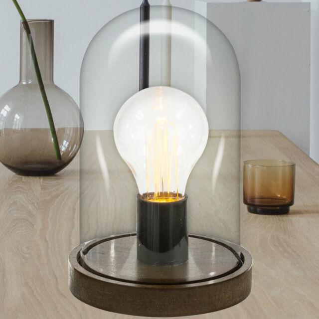 Fanal I Tischleuchte LED Holz mit Glaskuppel