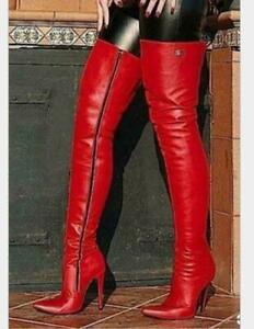Sexy-Women-Leather-Over-Knee-Thigh-Boots-Pointy-Toe-Nightclub-Zipper-Up-Shoes-sz