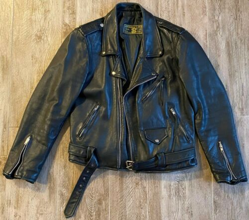 London BLE Black Leather Motorcycle Belted Jacket-