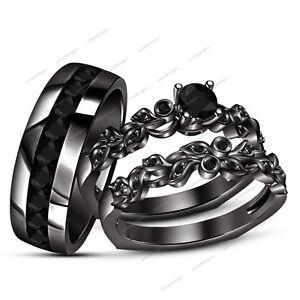 (Men & Womens) 1.30 Ct White Simulated Diamond His/Her Trio Wedding Ring Set
