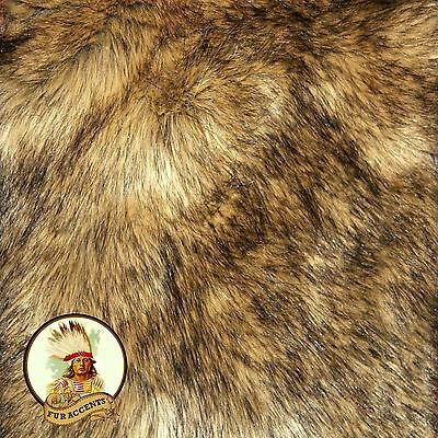 Faux Wolf Skin Accent Pelt Rug / Coyote