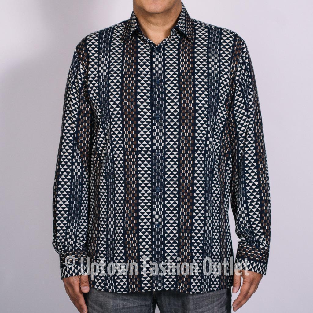 New Bassiri Men's Navy Cream Long Sleeves Fashion Casual Shirt 6039