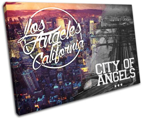 Los Angeles LA Typography City SINGLE CANVAS WALL ART Picture Print