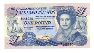Vintage Banknote UNC Falkland Islands 1984 1 Pound Pick 13a US Seller