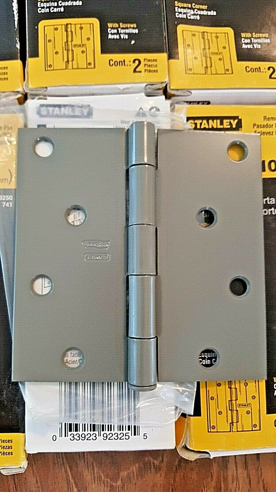 """6 BOXES OF 2 STANLEY 08-3250 4/"""" x 4/"""" STEEL PRIME COATED HINGES NIB"""
