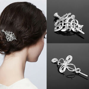 Women-Antique-Silver-Metal-Stick-Slide-Hair-Clip-Knots-Hairpin-1pc
