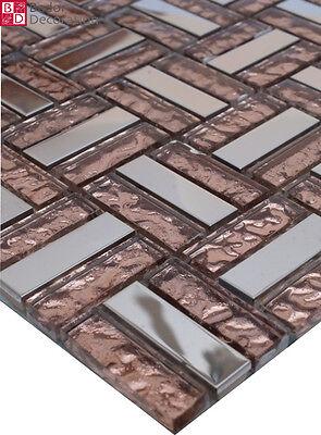 Piastrelle In Vetro A Mosaico Vetro, Acciaio Inox Bronzo effetto 8mm 15x15 Nuovo