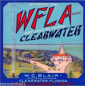 Clearwater Florida WFLA Radio Station Orange Citrus Fruit Crate Label Art Print