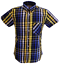 Real Hoxton Blue Yellow Stripe Checked Short Sleeved  Button Down shirts …