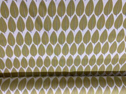 Deco Leaf Cotton  Ochre Green//Grey//Ivory140cm wide Curtain//Craft Fabric