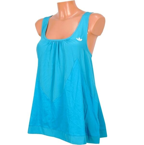 Adidas Damen Babydoll Tank Top Tunika Logo Dress Kleid Trefoil Shirt türkis blau