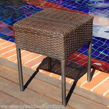 Outdoor Patio Furniture Brown PE Wicker Side Table