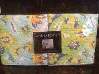 Cynthia Rowley 2 Standard Pillow Shams Aqua Lime Yellow Floral Medallion