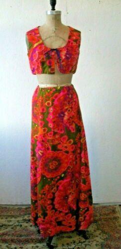 Vintage 60s 70s Psychedelic Print Bolero & Skirt W