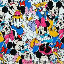 BonEful FABRIC FQ Cotton Jersey KNIT Disney Mickey Minnie Mouse Character Head L