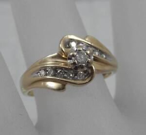 Image Is Loading Estate 10 Karat Yellow Gold Diamond Wedding Band