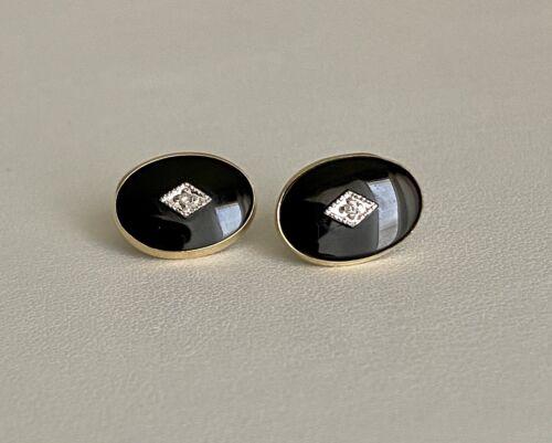123759757454 Vintage Oval Onyx Stud Earrings 925 Sterling Silver Er 410