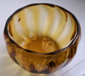 ANCIEN-VASE-BOULE-en-VERRE-JAUNE-et-Dore-George-SAND-XIXeme-ANTIQUE-VASE-GLASS