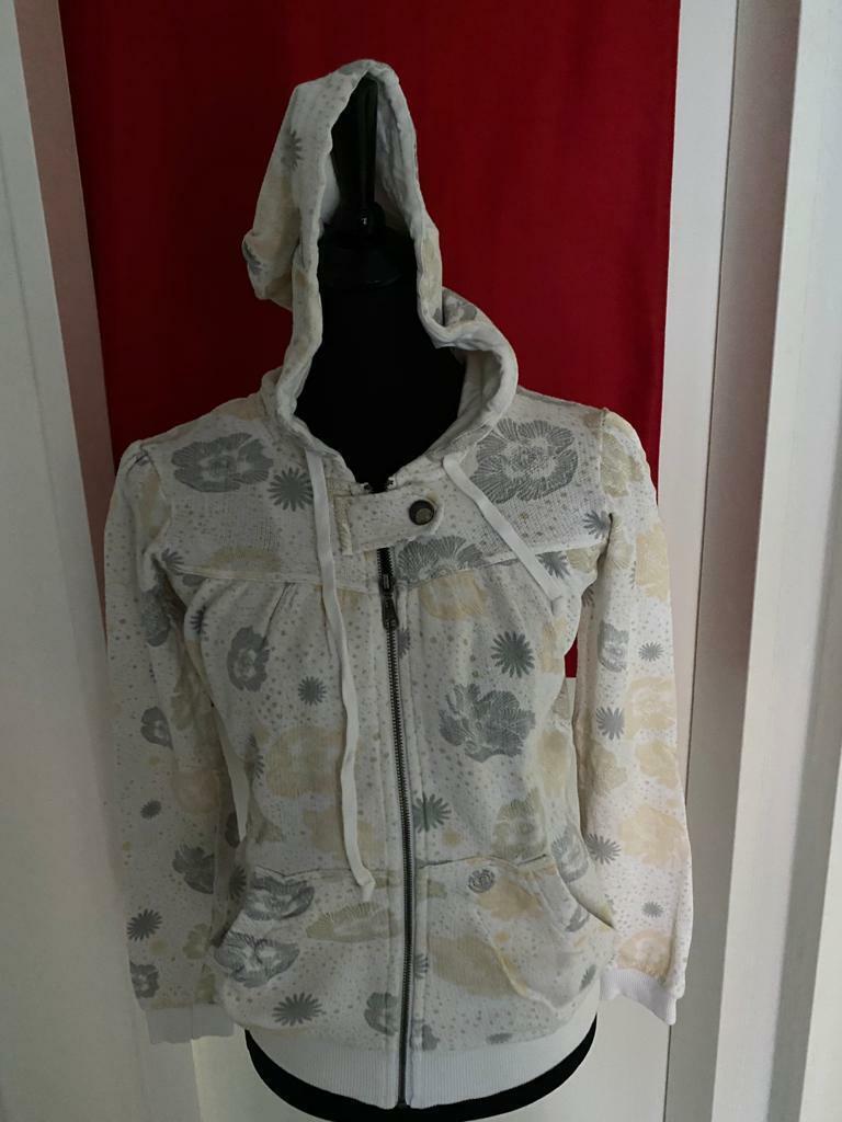 Element Damen Sport Jacke Größe M, Farbe: Weiß/Beige/Grau, Obermaterial: Cotton