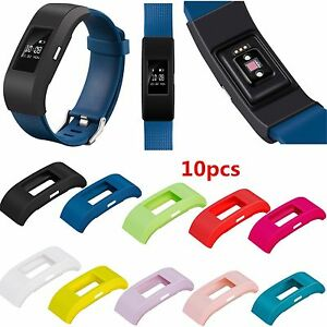 10pcs/Pack Silicone Rubber Band Case Cover Sleeve Protector For Fitbit Charge 2