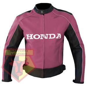 HONDA-5523-PINK-MOTORBIKE-MOTORCYCLE-BIKERS-COWHIDE-LEATHER-ARMOURED-JACKET