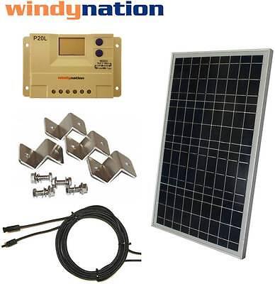 COMPLETE KIT: 30 W Watt 30W Solar Panel 12V Volt Battery RV Gate Boat Off Grid