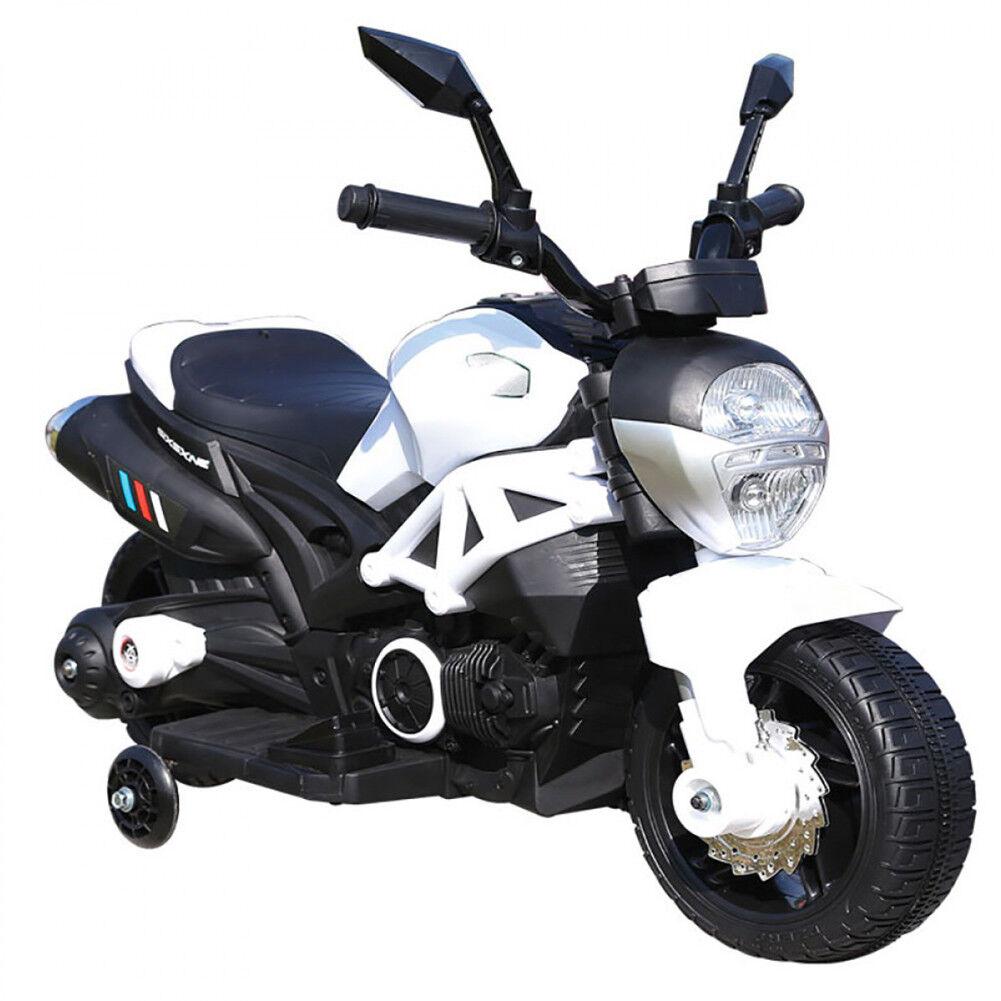 Bakaji Moto Motocicletta Modello Hunter Elettrica per Bambini 6V Bianco