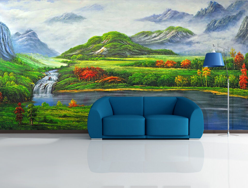 3D Green Meadow Painting 1145 Wall Paper Wall Print Decal Wall AJ WALLPAPER CA