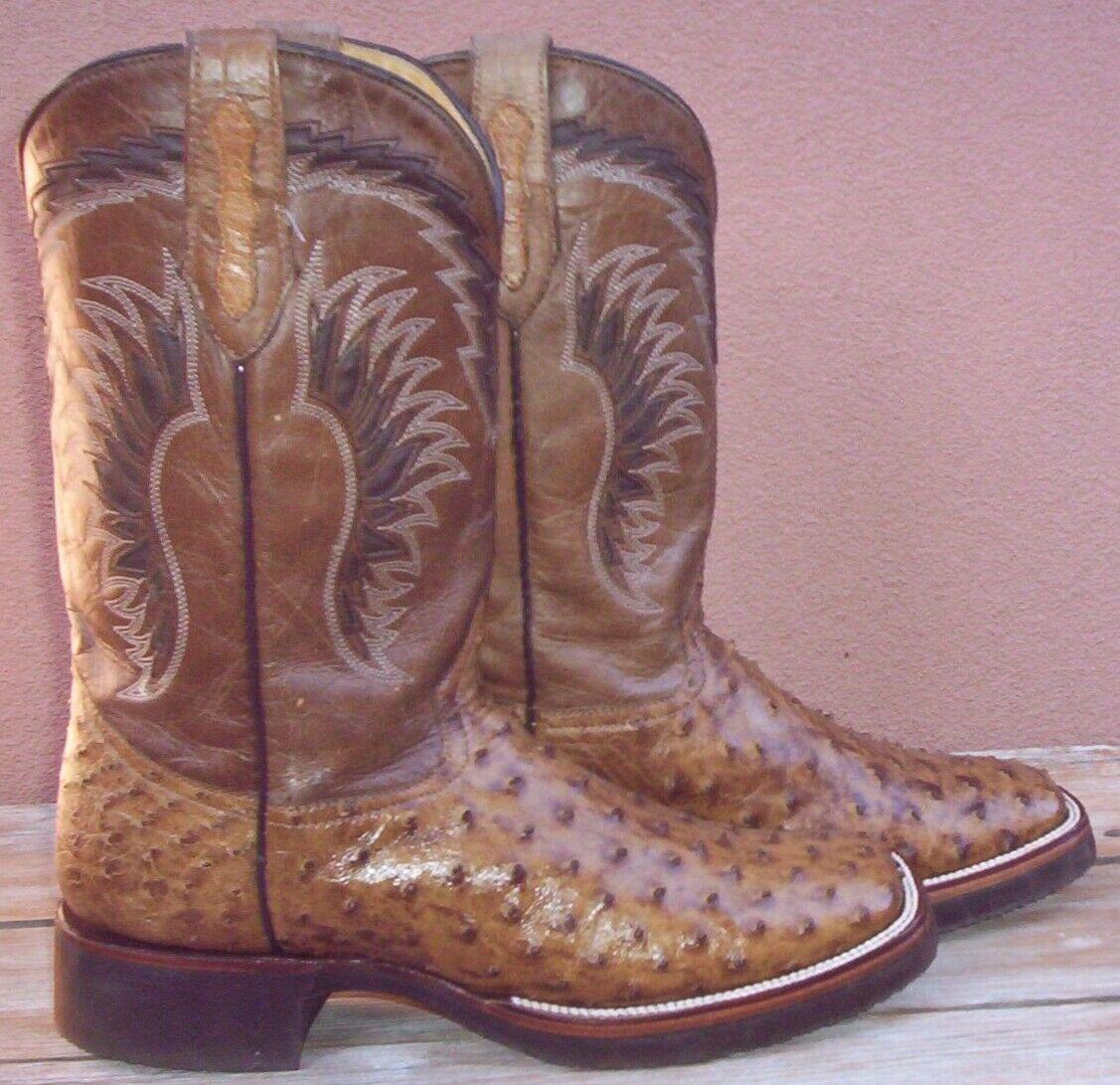 Genuine Completo Pluma Avestruz Piel, personalizado hecho a mano botas de vaquero, tamaño (11 2E)