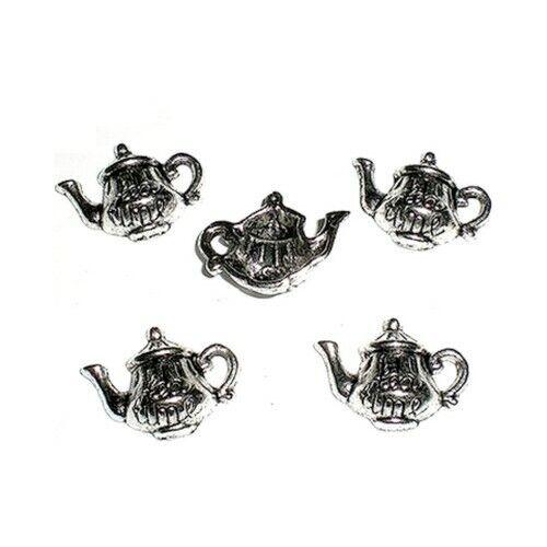 5 Breloques /_ THEIERE TEAPOT 14,5X19X5,5mm /_ Perles charms création bijoux /_B220