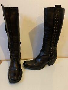 Zerodb Black Leather Boots Size UK 3 EU