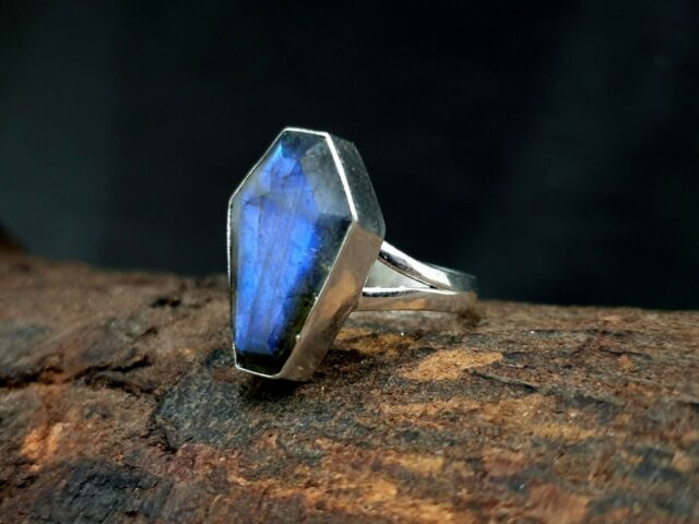 Labradorite Ring Coffin Shape 925 Sterling Silver Natural Flashy Labradorite