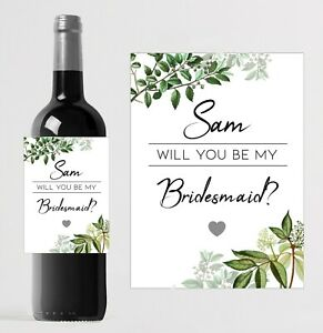 Personalised Will you be my Bridesmaid Wine Bottle label//Custom Wedding Favour