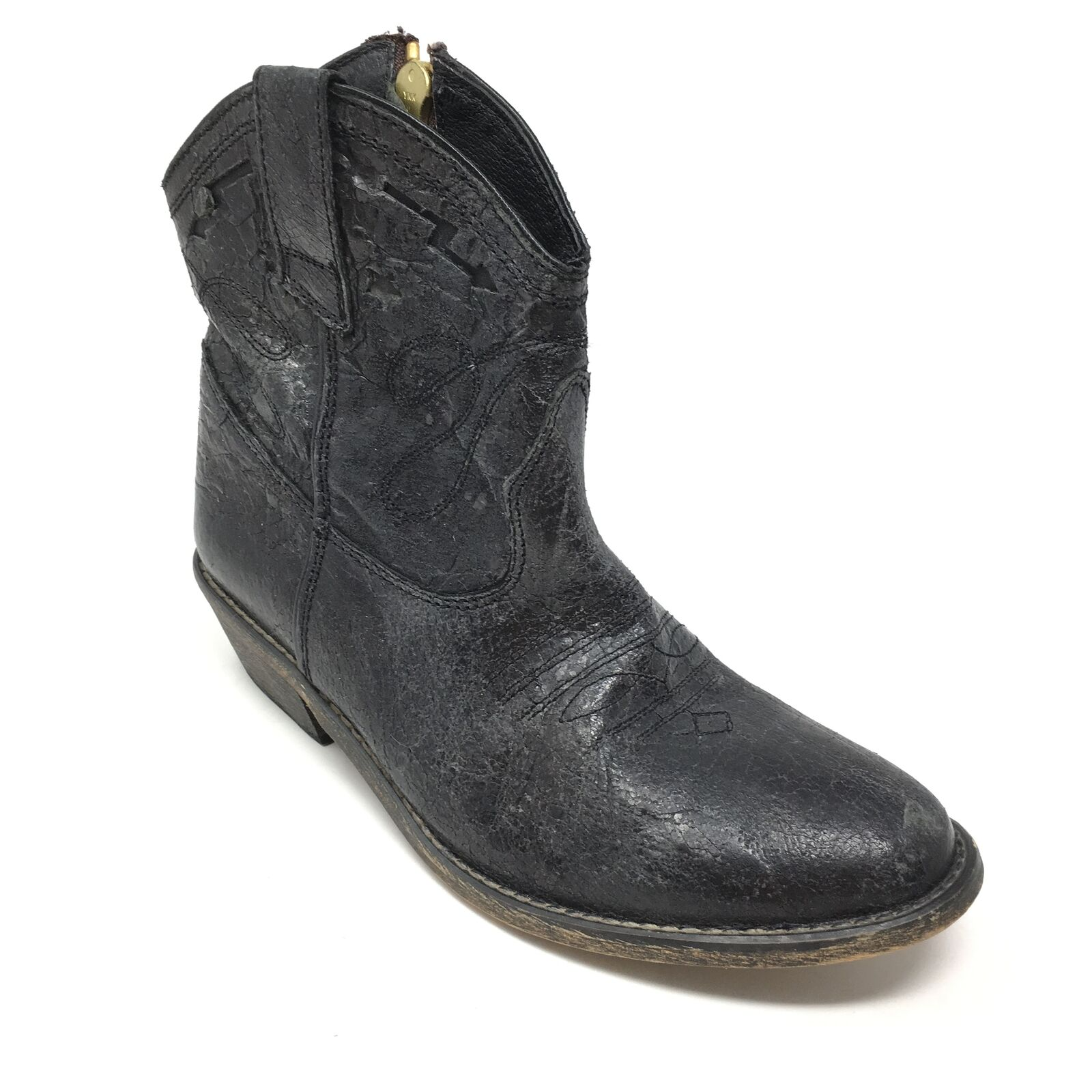 Women's Steve Madden Vestted Western Ankle Boots shoes Size 6.5M Black Zip Up P11
