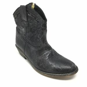 Women-039-s-Steve-Madden-Vestted-Western-Ankle-Boots-Shoe-Size-6-5M-Black-Zip-Up-P11