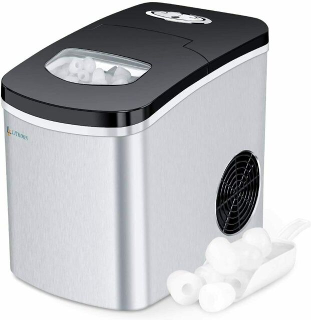 28.7 lbs Ice in 24 Hours Home Ice Machine with Ice Scoop and Basket No Water Line or Drain Line Required NOVETE Portable Ice Maker for Countertops Ice Ready in 6 Minutes