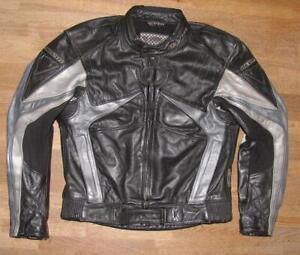 034-REVI-T-034-Herren-Motorrad-Lederjacke-Biker-Jacke-schwarz-silber-Gr-50