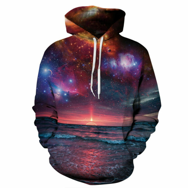 Galaxy nebula 3D print mens casual hoodie pullover sweatshirt top jumper coat