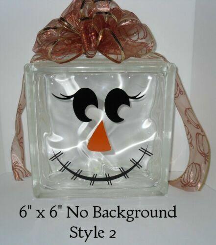 "SCARECROW FACES Halloween decal sticker DIY 8/"" glass block Tile"