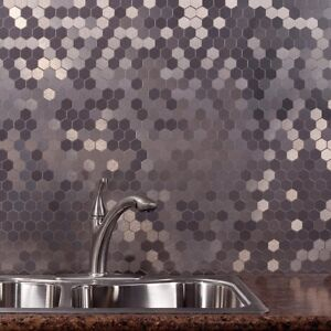 Details about Peel And Stick Tile Self Adhesive Silver Metal Stainless Wall  Kitchen Backsplash
