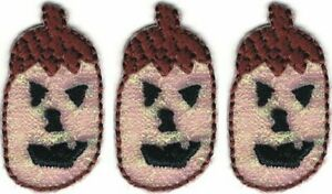 Pumpkin Jack-O-Lantern Halloween embroidery Lot of 3 Patches